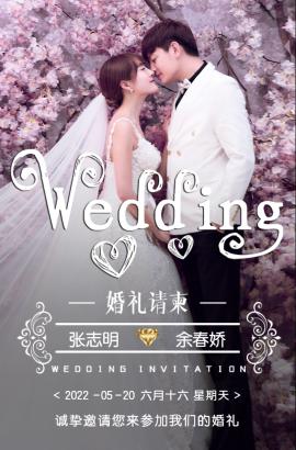 免费版创意高端轻奢唯美韩式婚礼邀请函结婚请柬请帖
