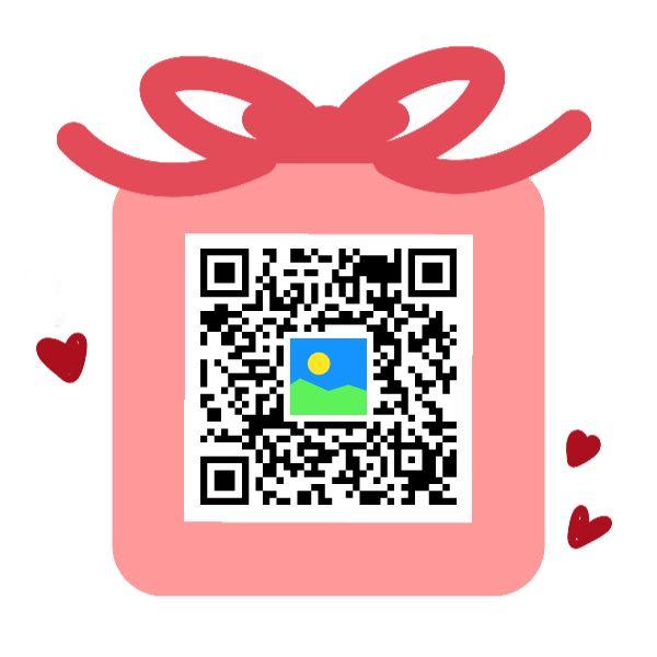 新年粉色祝福通用礼物二维码