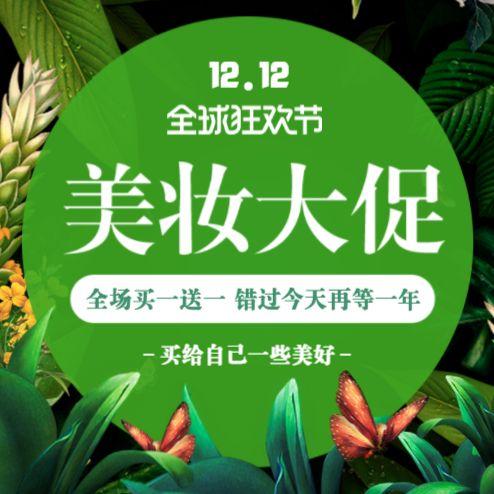高端时尚绿色天然双十二美妆促销