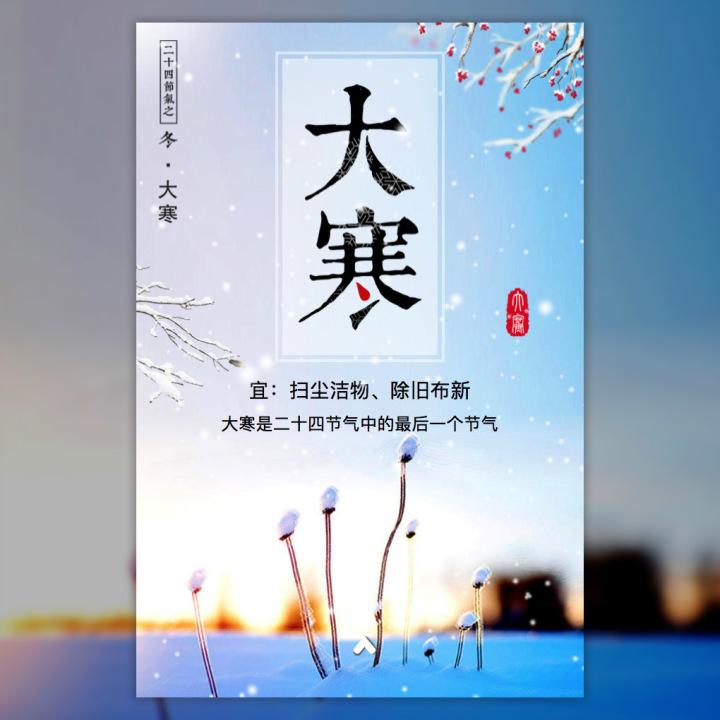 大寒 二十四节气 冬 梦幻飘雪 冬季养生 祝福 节日