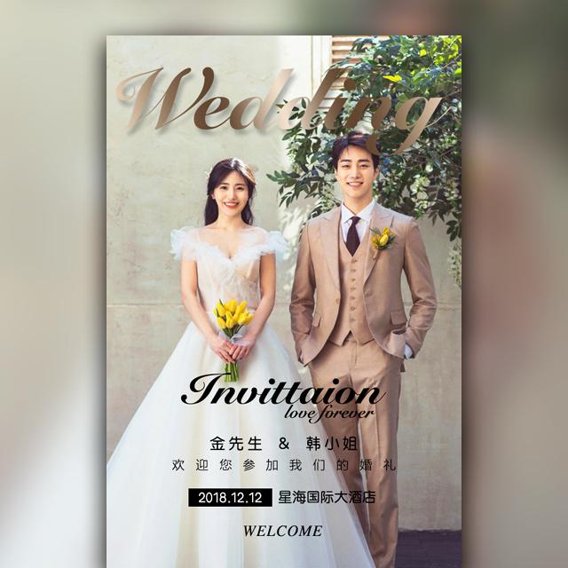 韩式轻奢婚礼邀请函高端结婚请柬