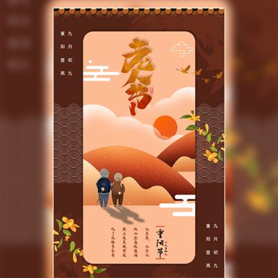 九月初九重阳节老人节登高菊花