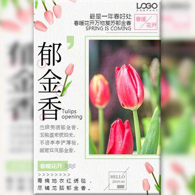 清新郁金香鲜花店开业活动宣传促销