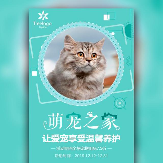 清新简约萌宠之家宠物店开业促销