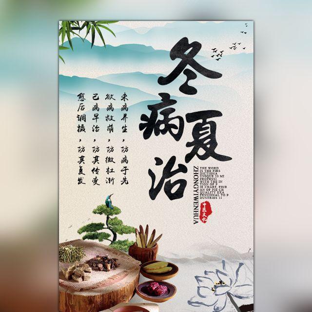 大气中国风冬病夏治中医养生会所宣传介绍