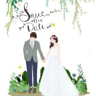 手绘插画韩式清新ins婚礼邀请函结婚请帖请柬喜帖
