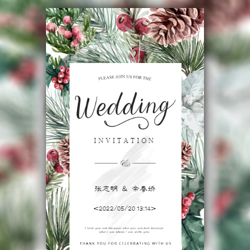 韩式高端森系唯美婚礼邀请函结婚请帖婚礼请柬