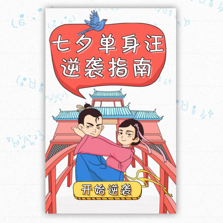 七夕节单身汪逆袭指南创意趣味闯关测试自媒体宣传