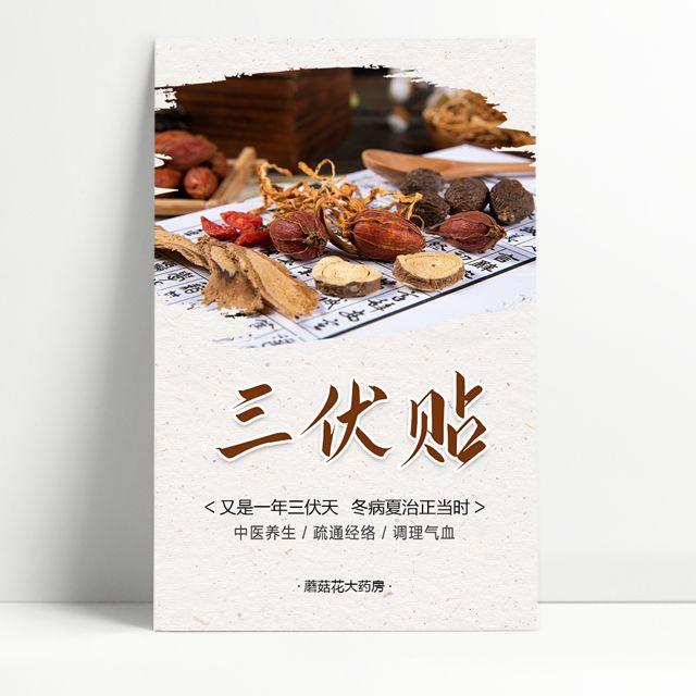 中医养生馆三伏贴宣传介绍冬病夏治中医理疗会所针灸